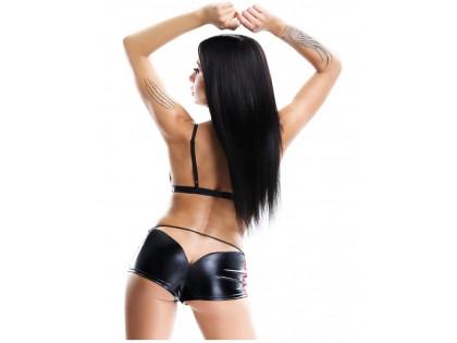 Czarny komplet bielizny erotycznej jak skóra szorty i biustonosz
