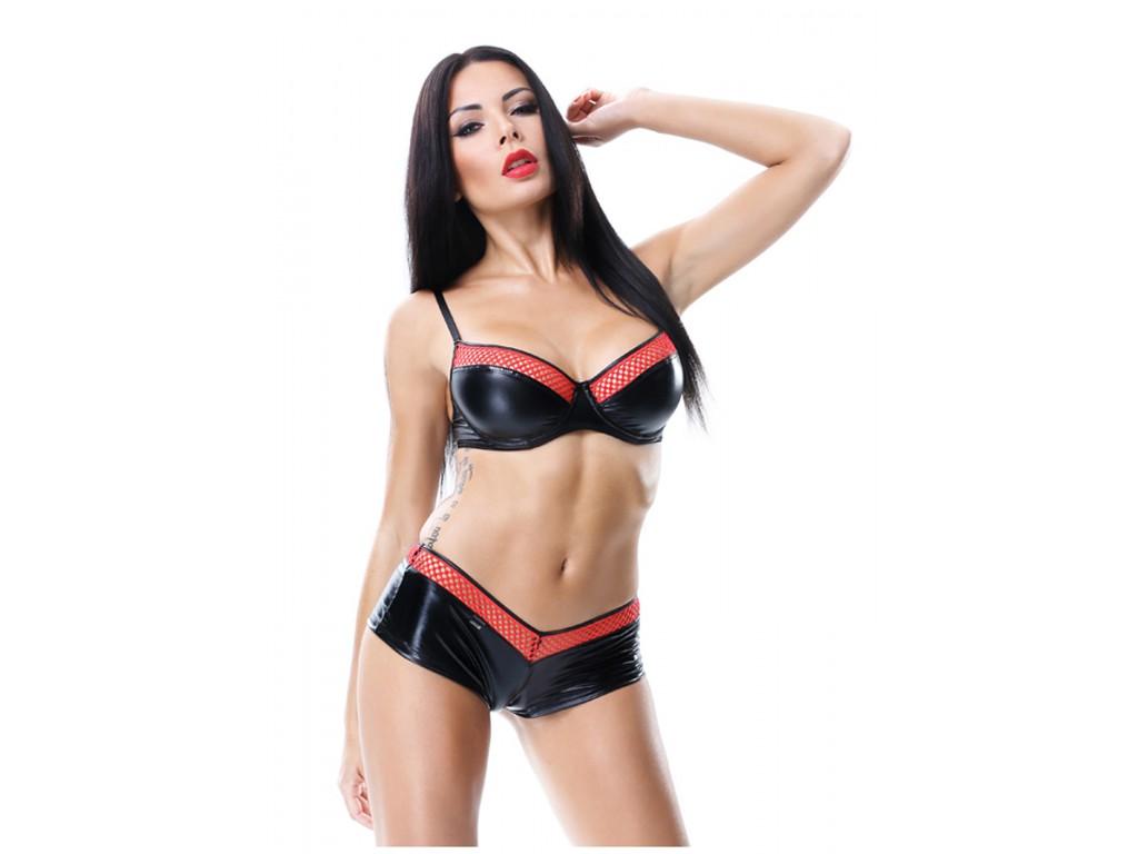 Lingerie set black bra shorts like leather - 1