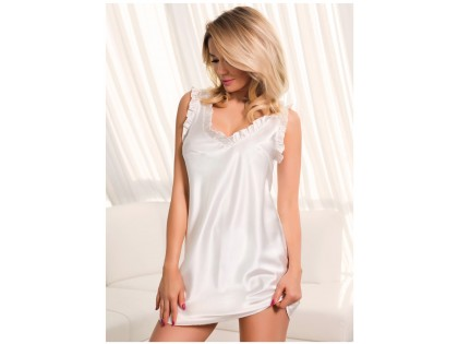 Ecru satynowa koszulka nocna bielizna damska