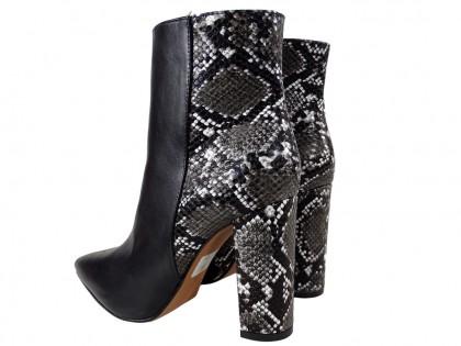 Czarne botki damskie eko skóra wężowy tył wiosenne buty
