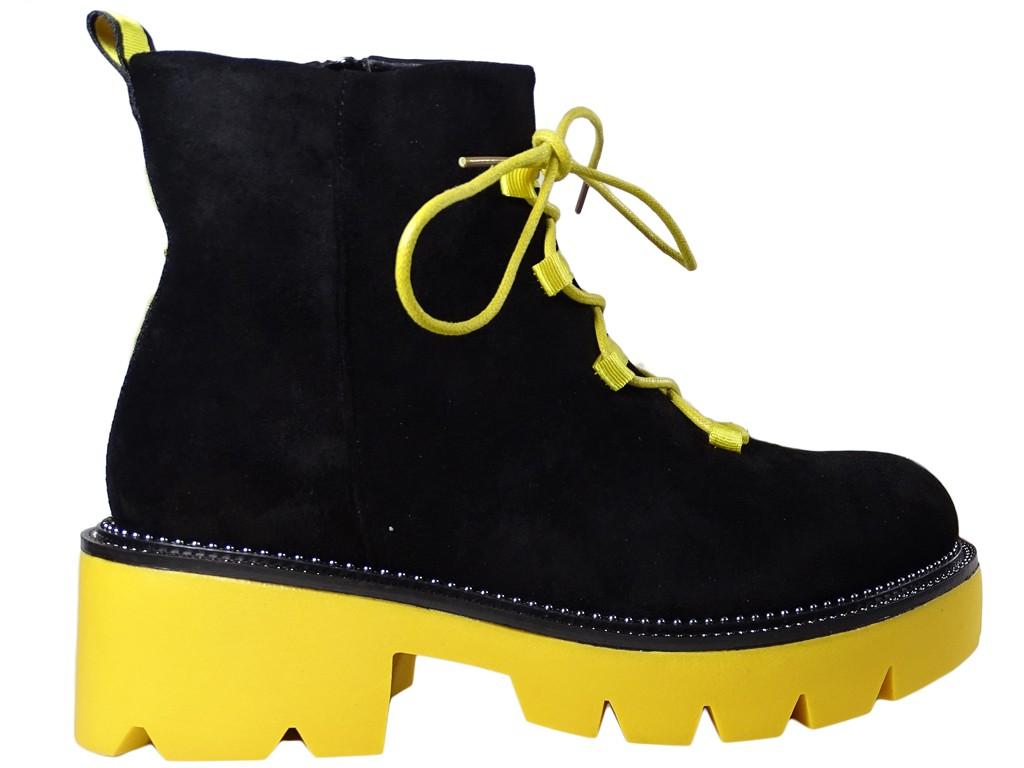 Schwarze Stiefel gelbe dicke Sohle Trapper Damenschuhe - 1