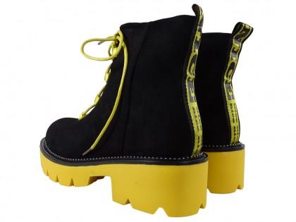 Czarne botki żółta gruba podeszwa buty damskie