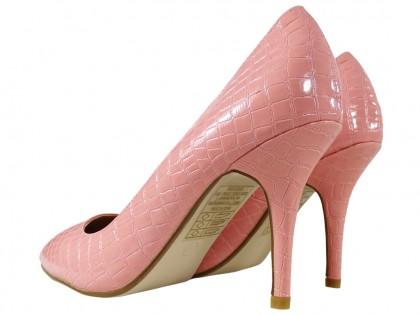 Różowe szpilki damskie struktura wężowa buty damskie