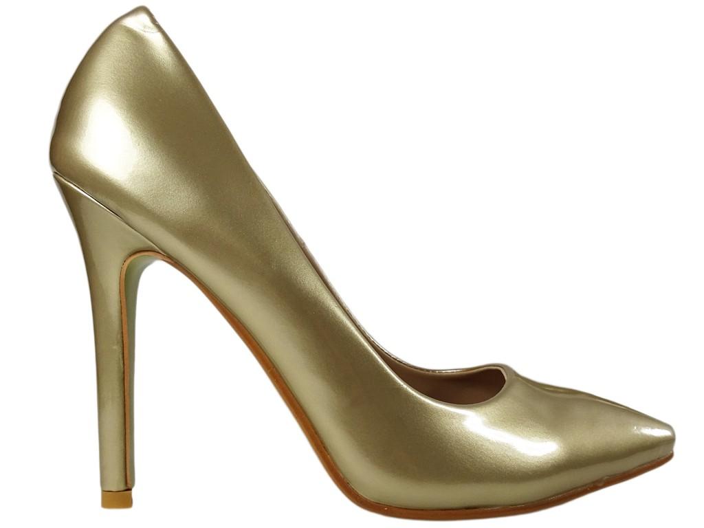 Gold High Heels Damen Perlmutt Schuhe - 1