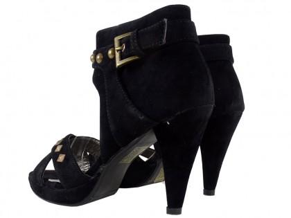 Czarne zamszowe sandały damskie szpilki ćwieki