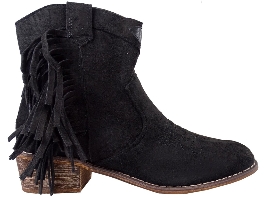 Black suede women's boots on a brick - 1