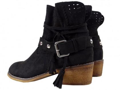 Czarne buty damskie zamszowe botki na klocku