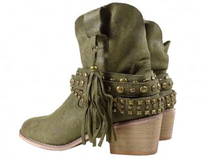 Ciemno zielone botki damskie zamsz buty