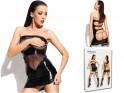 Czarna sukienka odkryte pośladki jak skóra wetlook
