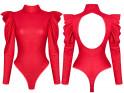 Rot geschnittene Puffärmel für Damen - 4