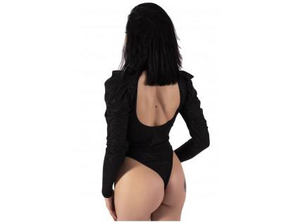 Czarne dopasowane body damskie pufki rękaw