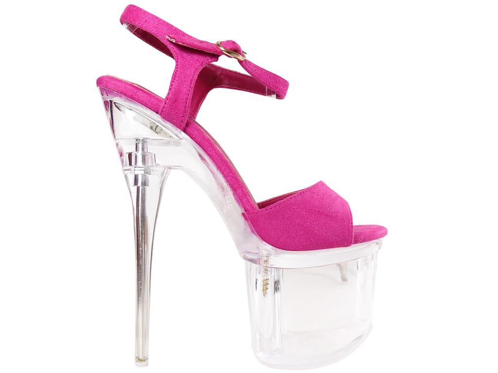 Rosa High Heels aus Wildleder auf der Glasplattform - 1