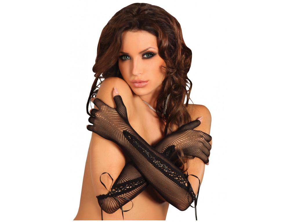 Black long cabaret tied gloves - 1