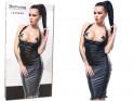 Schwarzes Kleid offenes Gesäß offene Büste wie Leder - 3