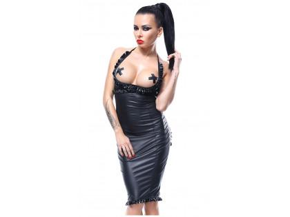 Schwarzes Kleid offenes Gesäß offene Büste wie Leder - 1