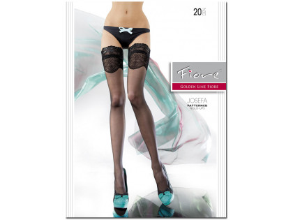 Smooth self-supporting stockings with 20den Fiore lace - 1
