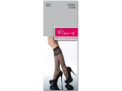 Black ladies' knee socks with a decorated cuff - 1