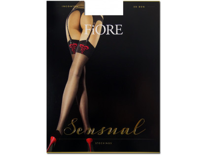 Red bow 20den Fiore striped stockings - 1