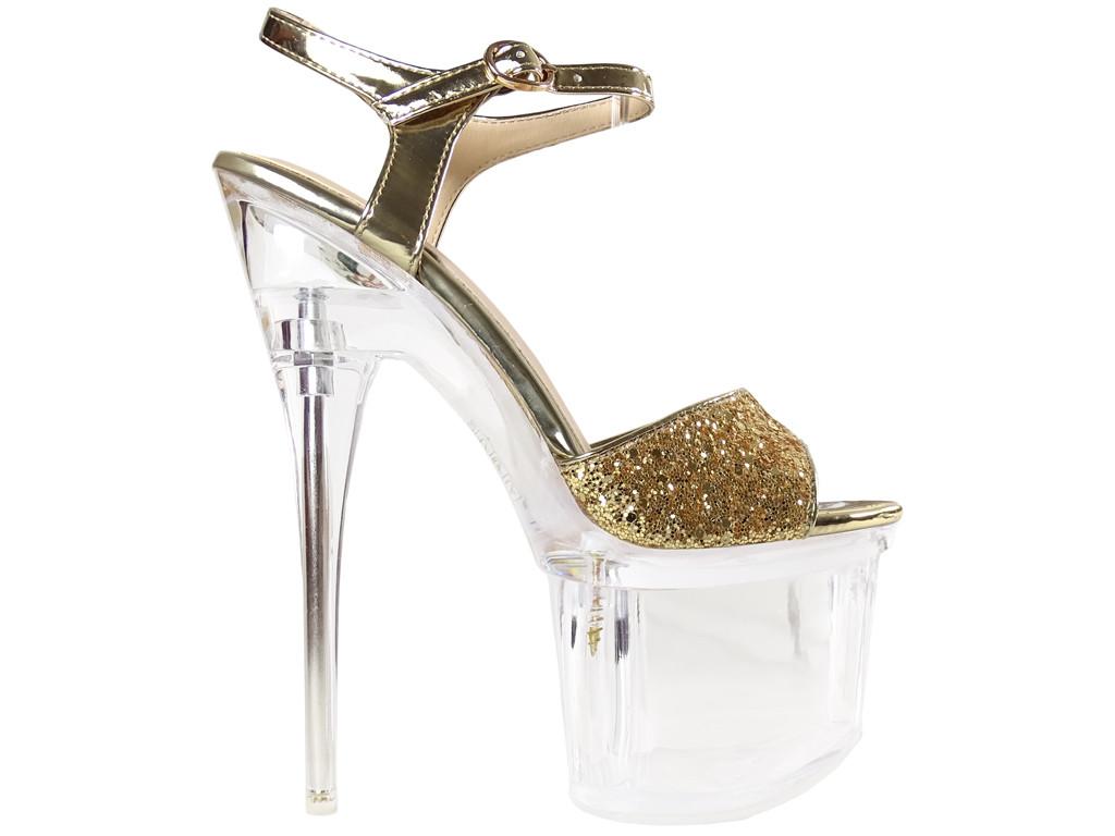 Brokatowe złote szpilki na platformie sandałki szklanki