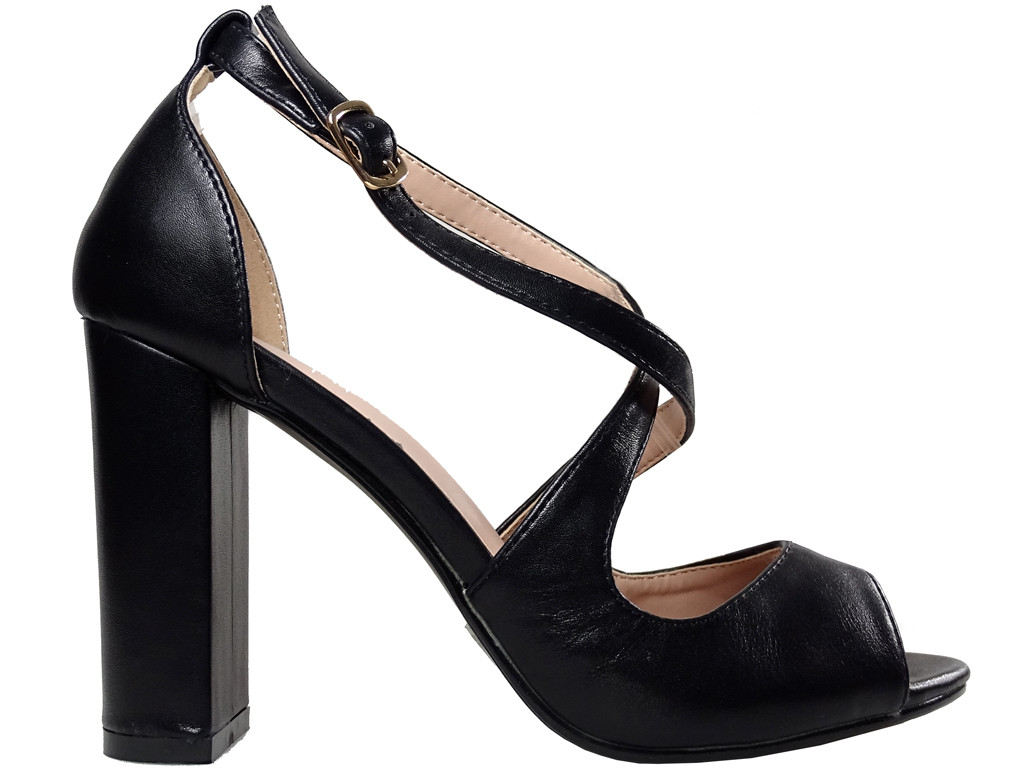 Black sandals on the eco-column leather ladies' shoes - 1