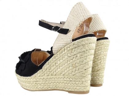 Czarne sandały na koturnie espadryle buty damskie