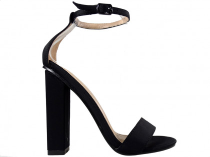 Black sandals on a pole with a diced belt - 1