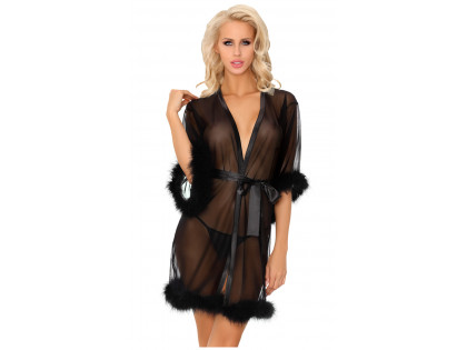 Black nunnery dressing gown with erotic feathers - 1