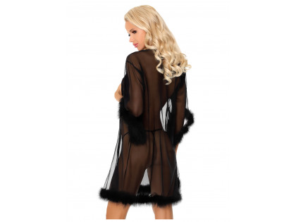 Black nunnery dressing gown with erotic feathers - 2