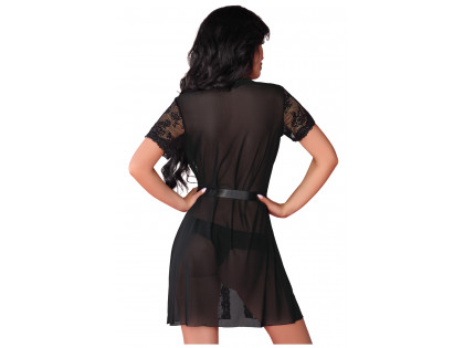 Black lace lace nunnery dressing gown erotic underwear - 2