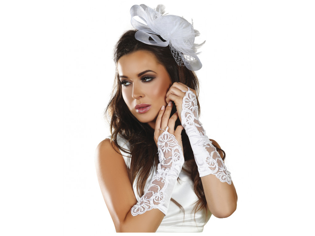 White ladies' gloves with Livia lace - 1
