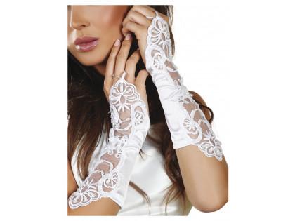 Białe rękawiczki damskie z koronką Livia