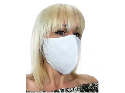 Weiße zweilagige Baumwollmaske - 1