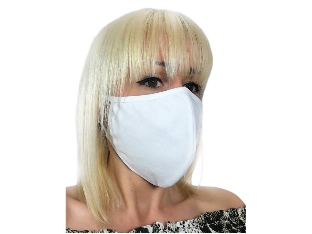 Masque blanc en coton à deux couches - 1