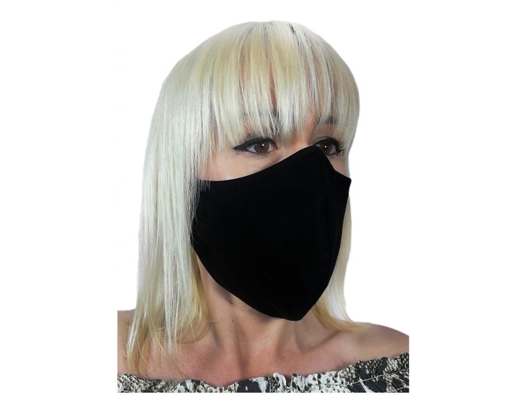 Čierna bavlnená dvojvrstvová maska - 1