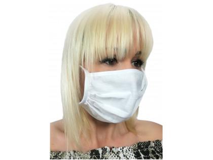 Maska na tvár z bielej bavlny - 1
