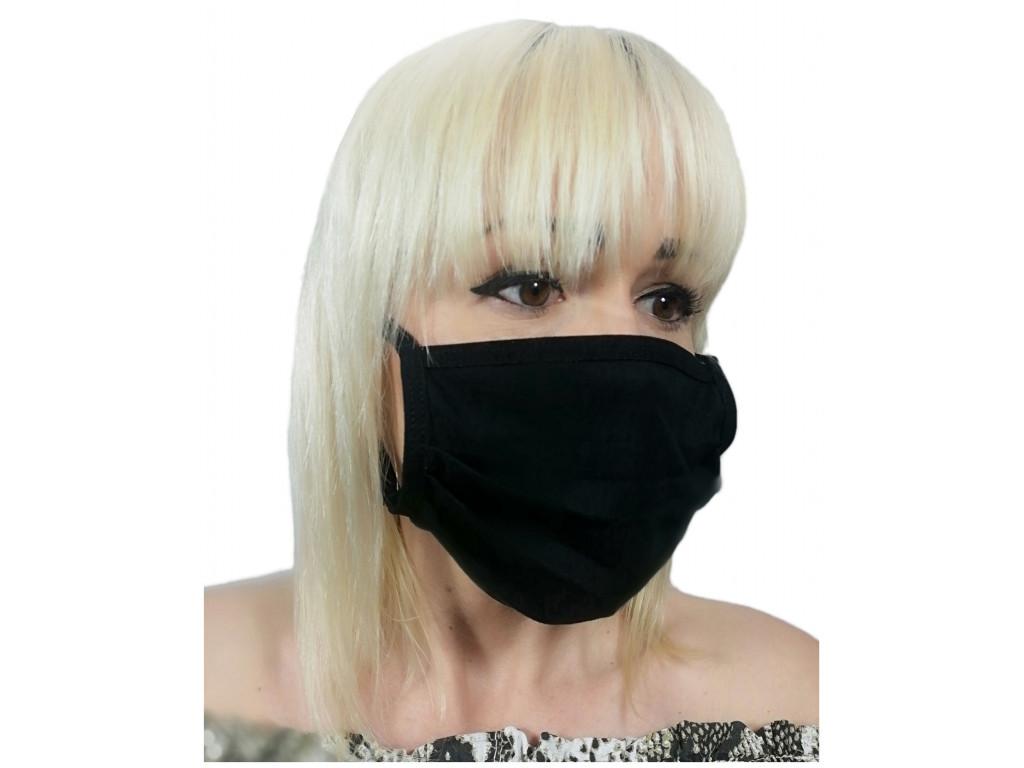 Mască de mască de față din bumbac negru - 1