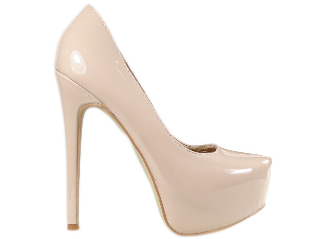 Beżowe nude szpilki na platformie buty damskie