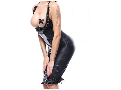 Schwarzes Wetlook-Kleidungsset abgestimmt - 2