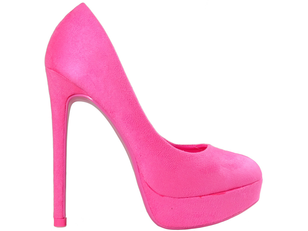 Pink pins on the platform suede shoes for women - 1