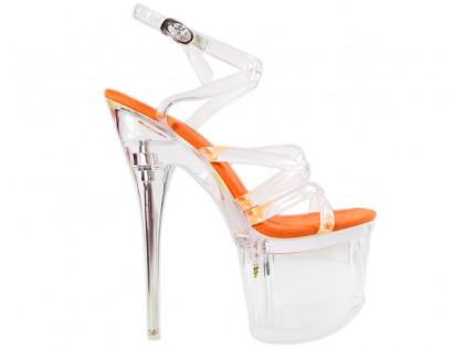 Neon orange pins high heels glasses - 1