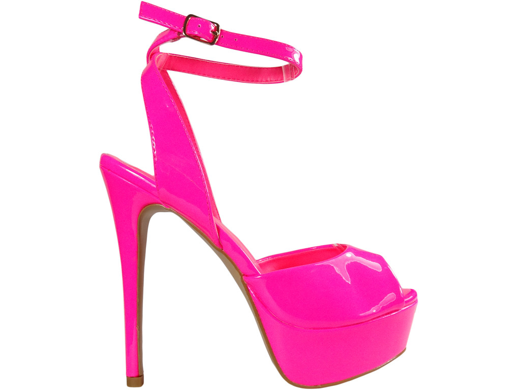 Pink pins on the platform neon sandals - 1