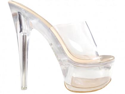 Erotic women's shoes ecru transparent flip-flops - 1