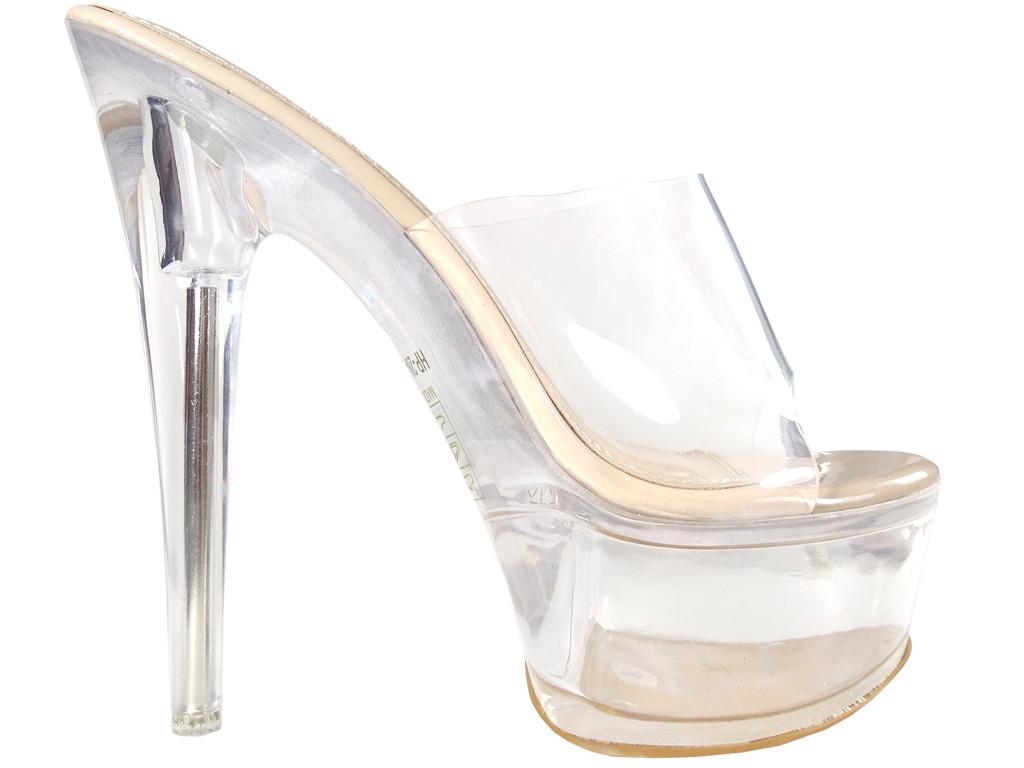 Erotische Damenschuhe ecru-transparente Flip-Flops - 1