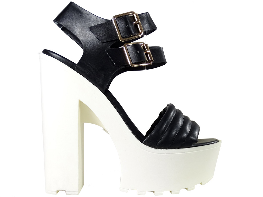 Black women's sandals on a white pole platform - 1