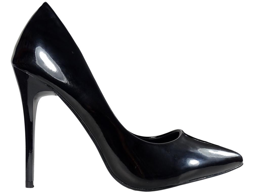 Schwarze Damen-Pins lackierte Stiefel - 1