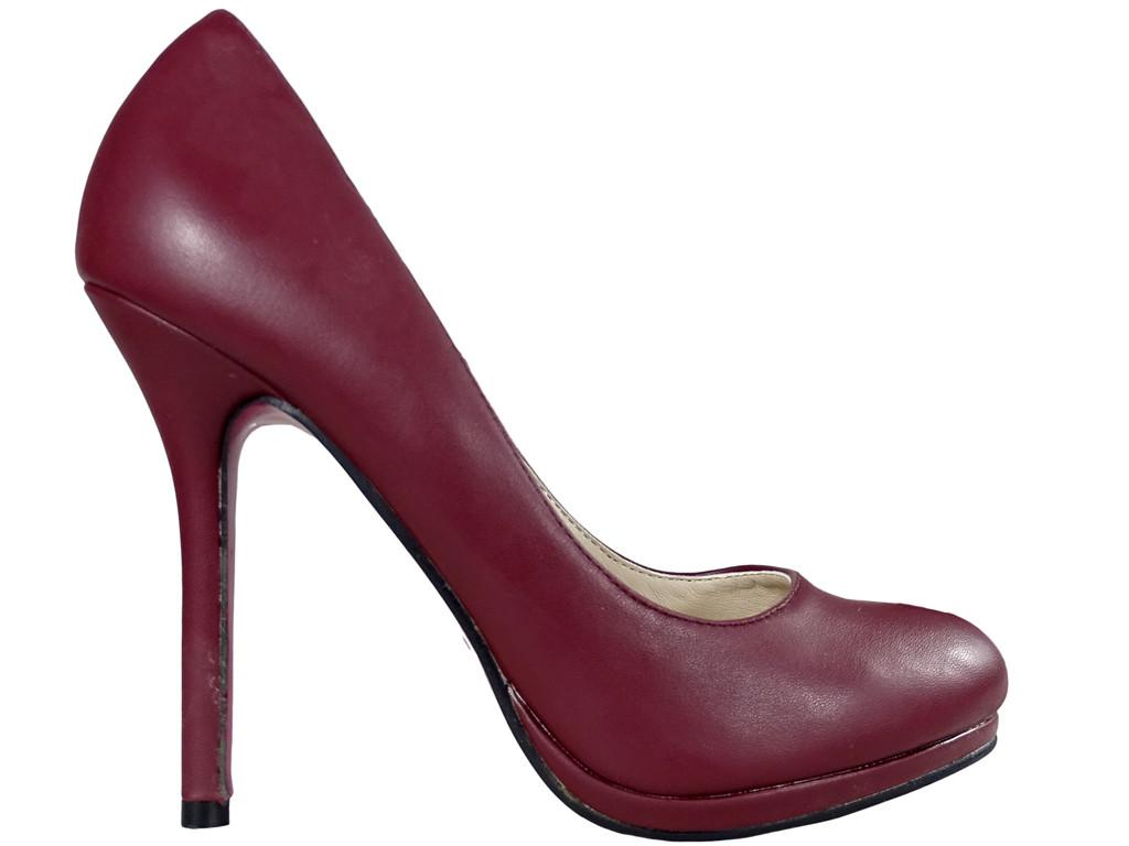Burgundy female pins matt eco leather - 1