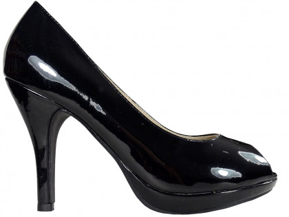 Black low pins on the platform open toe - 1