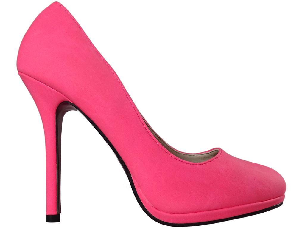 Pink neon matt female eco leather pins - 1