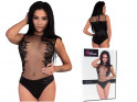 Black body ladies' erotic lingerie with lace - 4