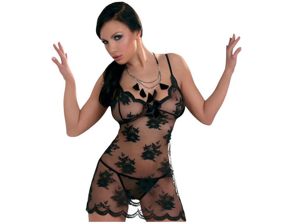 black mesh with lace erotic nightdress - 1